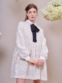 sister jane Pasture Tweed Smock Dress Cream ~ glittering floral embellished dresses