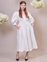 sister jane Freya Jacquard Wrap Dress Ivory ~ romantic balloon sleeve dresses