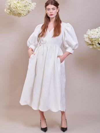 sister jane Freya Jacquard Wrap Dress Ivory ~ romantic balloon sleeve dresses - flipped