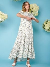 sister jane Wild Flower Tiered Maxi Dress ~ high low hem floral dresses for summer