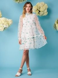 sister jane DREAMING DAISIES Dainty May Embroidered Mini Dress ~ romantic floral sheer overlay dresses