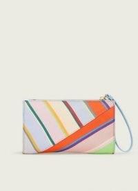 L.K. BENNETT DUNE MULTI-COLOURED STRIPE FABRIC CLUTCH ~ bright multicoloured pouch bag