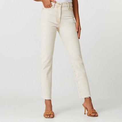 River Island Ecru Blair high waisted jeans | neutral denim - flipped