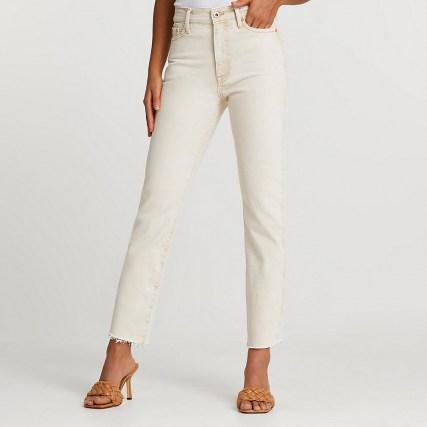 River Island Ecru Blair high waisted jeans | neutral denim