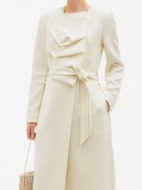 ROLAND MOURET Edintore pleated wool-crepe coat ~ chic white coats