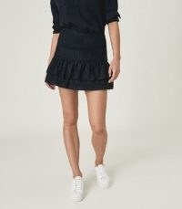 Reiss EILA COTTON SILK BLEND MINI SKIRT NAVY | dark blue ruffle trim skirts