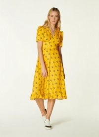 L.K. BENNETT ELSON YELLOW POSEY PRINT SILK-BLEND TEA DRESS / bright floral frill hem dresses / vintage style summer fashion