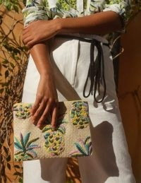 BODEN Embroidered Raffia Keepsake Natural Pineapple / fruit motif pouch bag / summer clutch bags