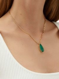 YVONNE LÉON Emerald & 18kt gold mixed-chain necklace ~ green gemstone pendant necklaces