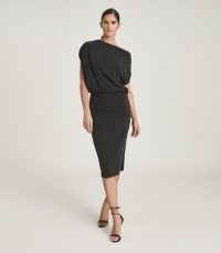 REISS EVELYN JERSEY DRAPE DRESS CHARCOAL ~ asymmetric evening dresses