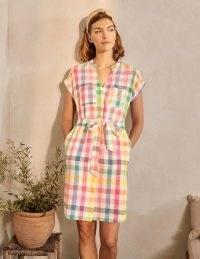 BODEN Evie Linen Shirt Dress / checked summer dresses