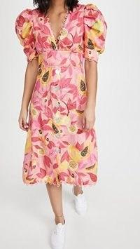 FARM Rio Pink Papaya Salad Button Down Midi Dress / puff sleeve fruit print dresses