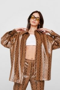 NASTY GAL Faux Leather Snake Print Shirt Jacket ~ oversized tan-brown jackets