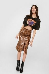 NASTY GAL Faux Leather Snake Print Slit Midi Skirt ~ tan brown front slit skirts