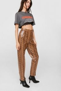 NASTY GAL Faux Leather Snake Print Slit Pants