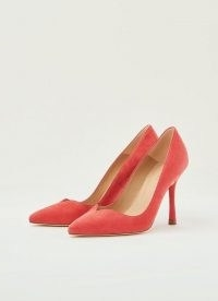L.K. BENNETT FAYE PINK SUEDE SWEETHEART COURTS ~ lipstick-pink court shoes