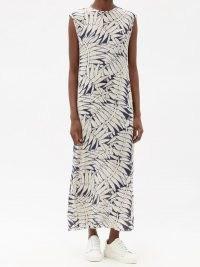 RAEY Fern-print silk crepe de Chine maxi dress ~ summer column dresses