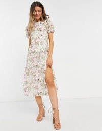 Forever U midi dress with slit in white floral lace ~ romantic puff sleeve dresses