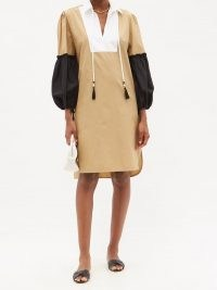 MAX MARA Fornovo dress ~ beige point collar curved hem dresses