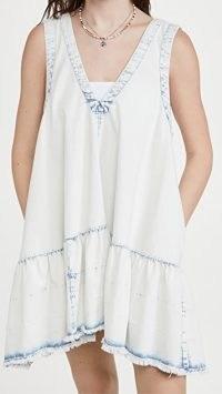 Free People Sunspray Denim Mini Dress Sunsky Wash Indigo