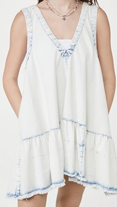 Free People Sunspray Denim Mini Dress Sunsky Wash Indigo - flipped