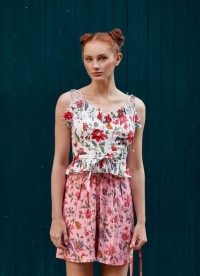 L.K. BENNETT FRENCHI ROMANCE FLORAL PRINT CROP TOP / strappy summer ruffle trim tops