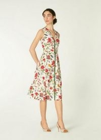 L.K. BENNETT FRIDAY WHITE ROMANCE FLORAL STRETCH COTTON DRESS / sleeveless fit and flare dresses