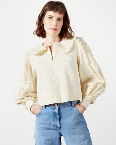 TED BAKER COPOLA Frill blouse ~ ruffle trim blouses - flipped