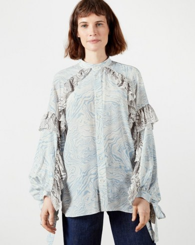 TED BAKER QUENEN Frill printed blouse ~ ruffled tie cuff blouses - flipped