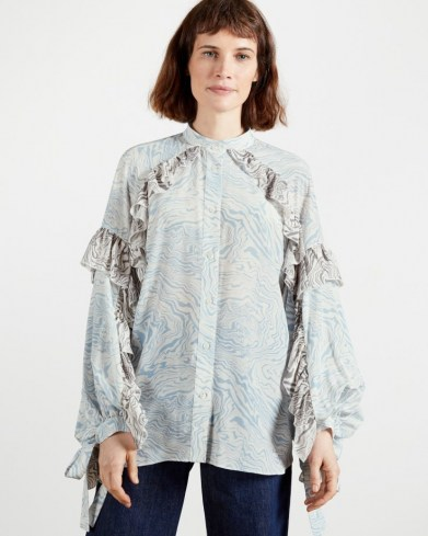 TED BAKER QUENEN Frill printed blouse ~ ruffled tie cuff blouses