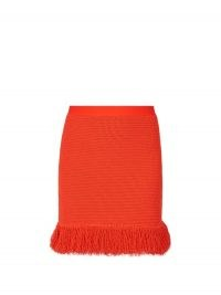 BOTTEGA VENETA Fringed knitted mini skirt in red ~ designer knitwear