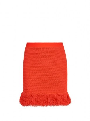 BOTTEGA VENETA Fringed knitted mini skirt in red ~ designer knitwear - flipped