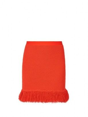 BOTTEGA VENETA Fringed knitted mini skirt in red ~ designer knitwear