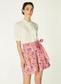 L.K. BENNETT GABBY PINK ROMANCE FLORAL PRINT ECO VISCOSE SHORTS / feminine side tie short