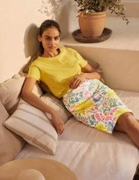 BODEN Gabriella Pencil Skirt Ivory, Tropical Charm / bird and butterfly print skirts / summer fashion