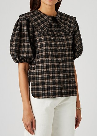 GANNI Checked lamé-weave seersucker shirt – feminine check print shirts – frilled over sized collars - flipped
