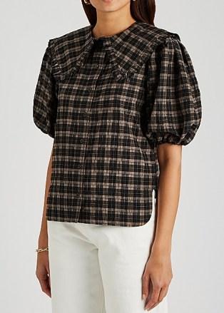 GANNI Checked lamé-weave seersucker shirt – feminine check print shirts – frilled over sized collars