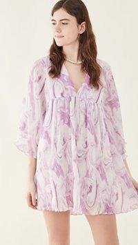 GANNI Pleated Georgette Mini Dress ~ floaty empire waist babydoll dresses