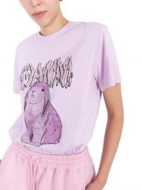 GANNI T-SHIRT IN JERSEY DI COTONE CON STAMPA BUNNY ~ lilac tee ~ bunnies on T-shirts ~ rabbit prints