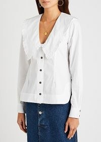 GANNI White ruffle-trimmed cotton blouse – frill trim oversized collar clouses