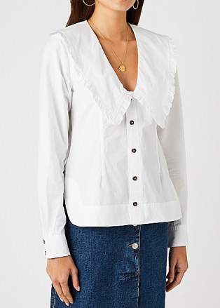 GANNI White ruffle-trimmed cotton blouse – frill trim oversized collar clouses - flipped