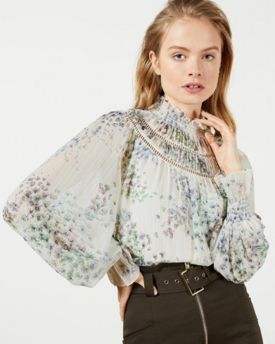 TED BAKER MARRIN Gathered neck top with shirred cuff / romantic floral print balloon sleeve tops - flipped