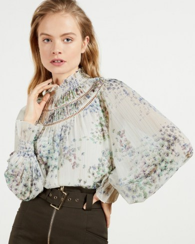 TED BAKER MARRIN Gathered neck top with shirred cuff / romantic floral print balloon sleeve tops