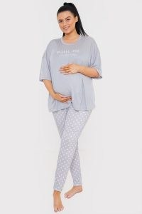 GEORGIA KOUSOULOU MATERNITY GREY 'MINI ME' TSHIRT AND LEGGING PJ SET / slogan pyjama sets from IN THE STYLE