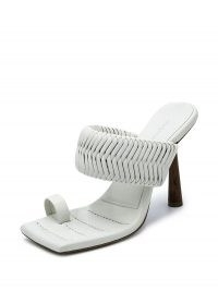 Gia Couture x RHW 100mm white woven mules / square toe mule / sculpted heels