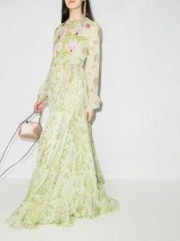 Giambattista Valli floral print silk maxi dress / light green summer gown