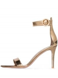 Gianvito Rossi Portofino 85mm metallic-gold leather sandals ~ luxe barely there heels