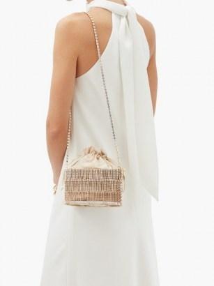 ROSANTICA Ginger crystal-embellished cage shoulder bag – luxe gold evening bags - flipped