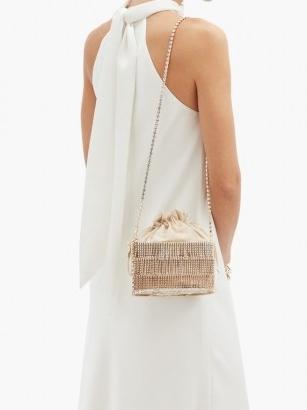 ROSANTICA Ginger crystal-embellished cage shoulder bag – luxe gold evening bags