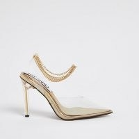 RIVER ISLAND Gold perspex court shoe / clear courts